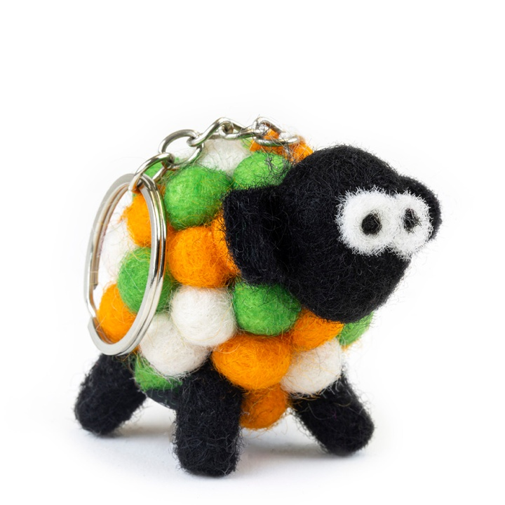 Tricolour sheep keyring product photography